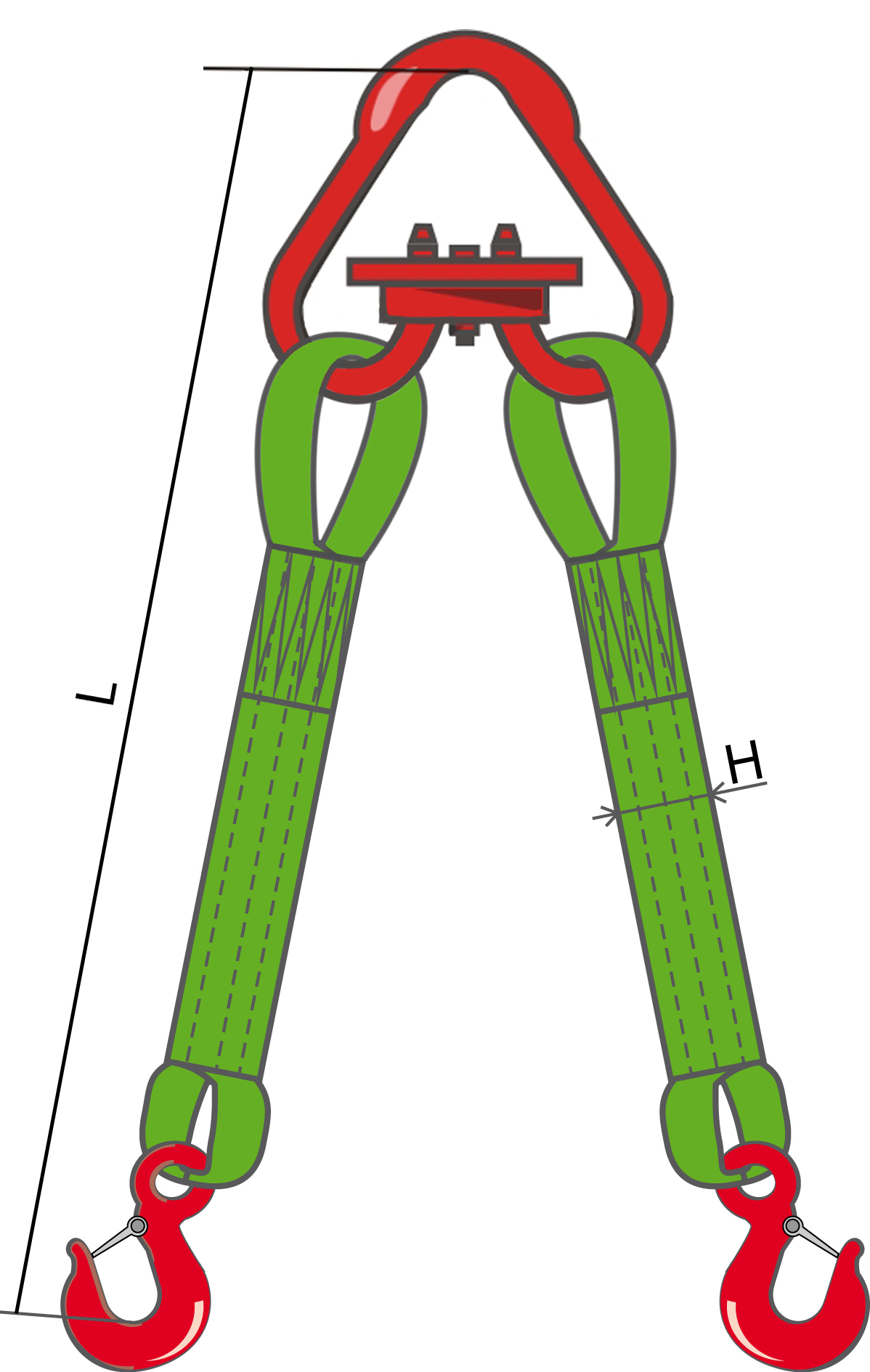 Текстильный двухветвевой строп